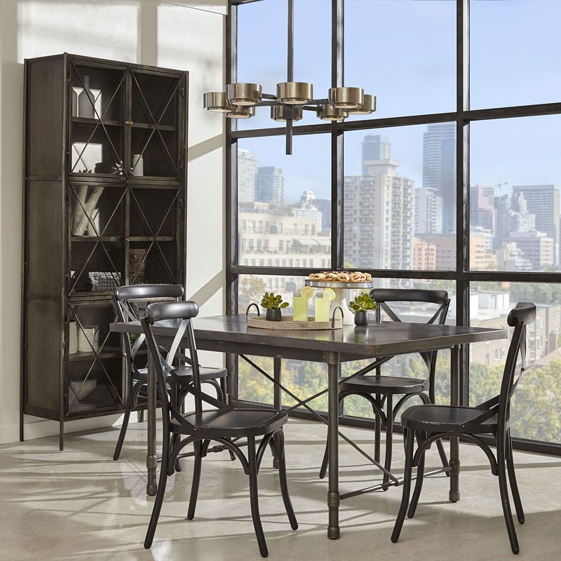 metal dining room sets | Industrial Metal Top Dining Room Set w/ Black Chairs by ...