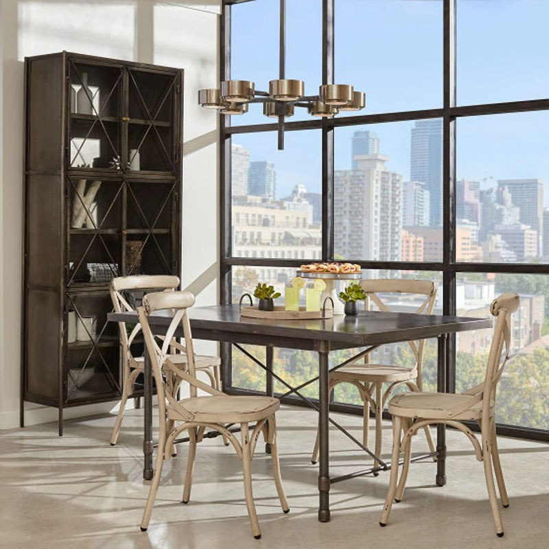 Industrial Metal Top Dining Room Set w/ White Chairs