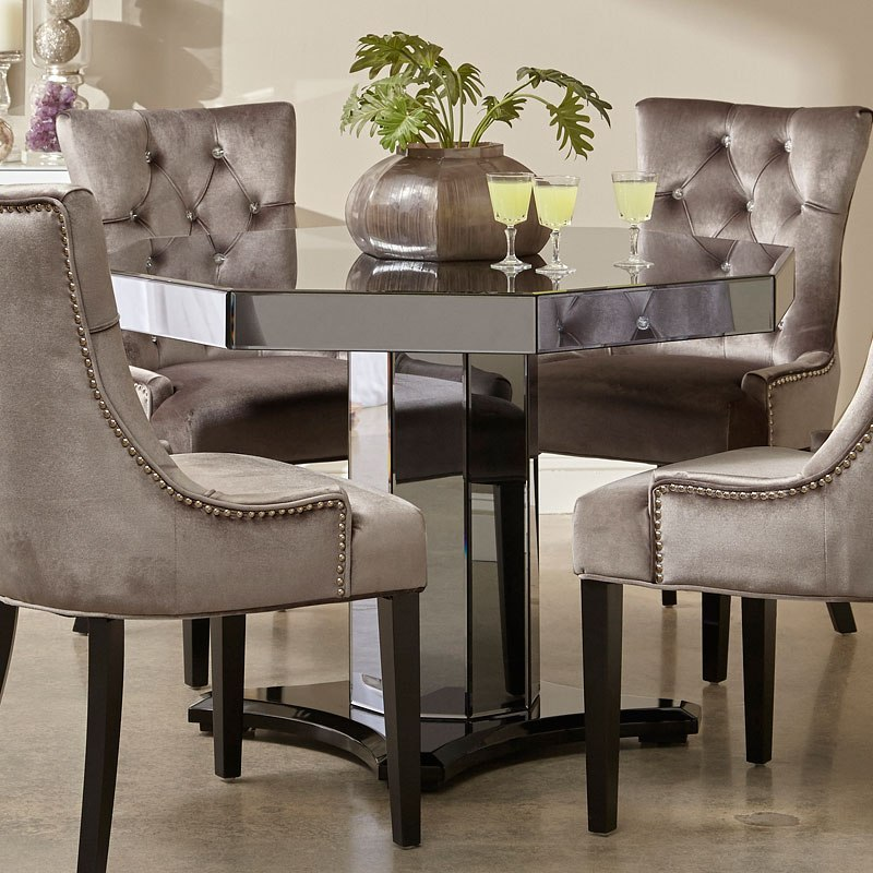 Smoked Mirrored Octagon Dining Table By Pulaski Furniture