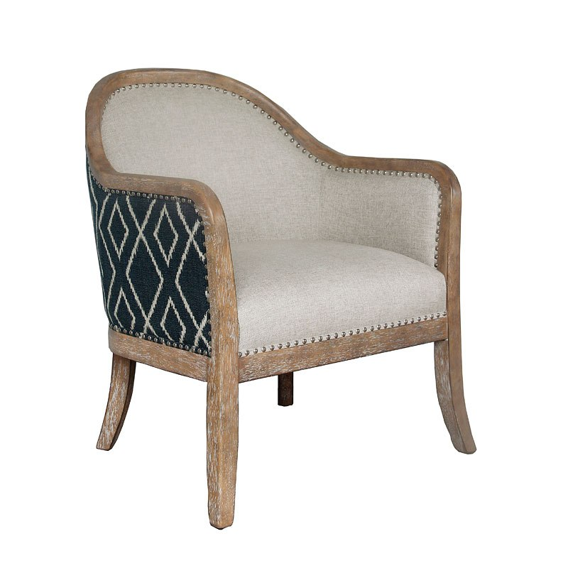Small Framed Accent Chair For Bedroom: Small Space Wood Frame Two Tone Accent Chair By Accentrics
