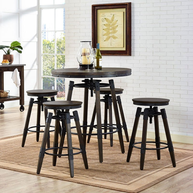 Industrial adjustable height bar table set w backless barstool industrial adjustable height bar table set w backless barstool watchthetrailerfo