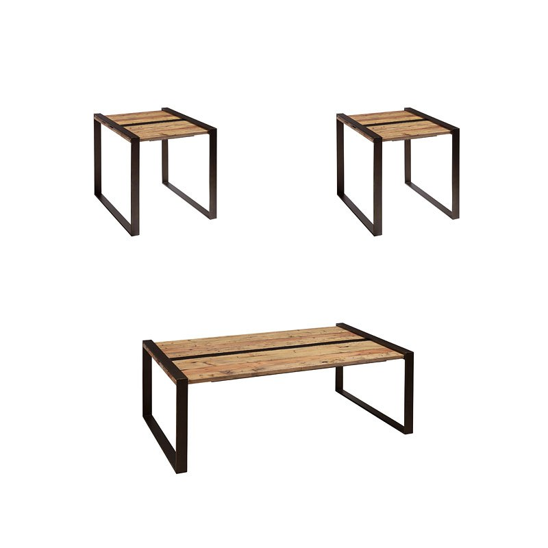 Small Space Reclaimed Wood And Metal Occasional Table Set By