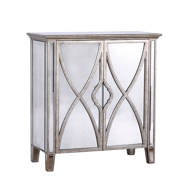 Small Space Silver Frame Mirrored Two Door Chest By