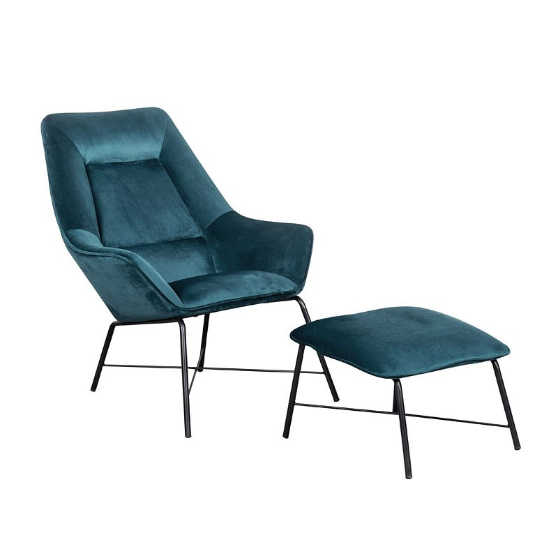 Small Chair With Ottoman: Small Space Modern Milan Chair W/ Ottoman (Aqua) By