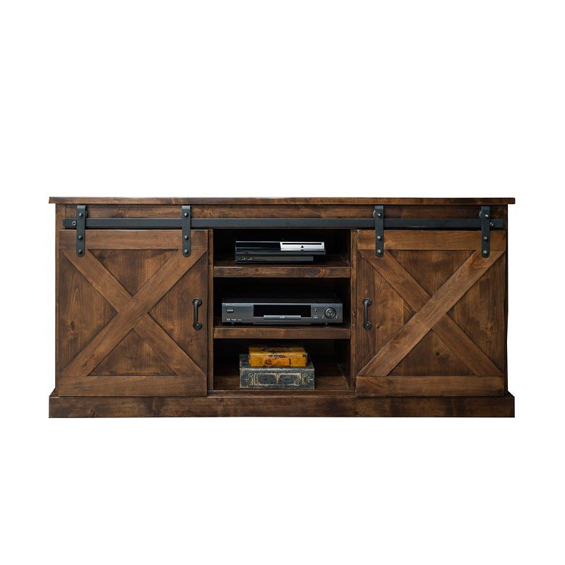 Farmhouse 66 Inch Tv Console Aged Whiskey
