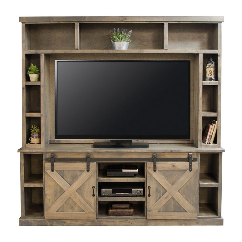 Farmhouse 85 Inch Entertainment Center Barnwood By