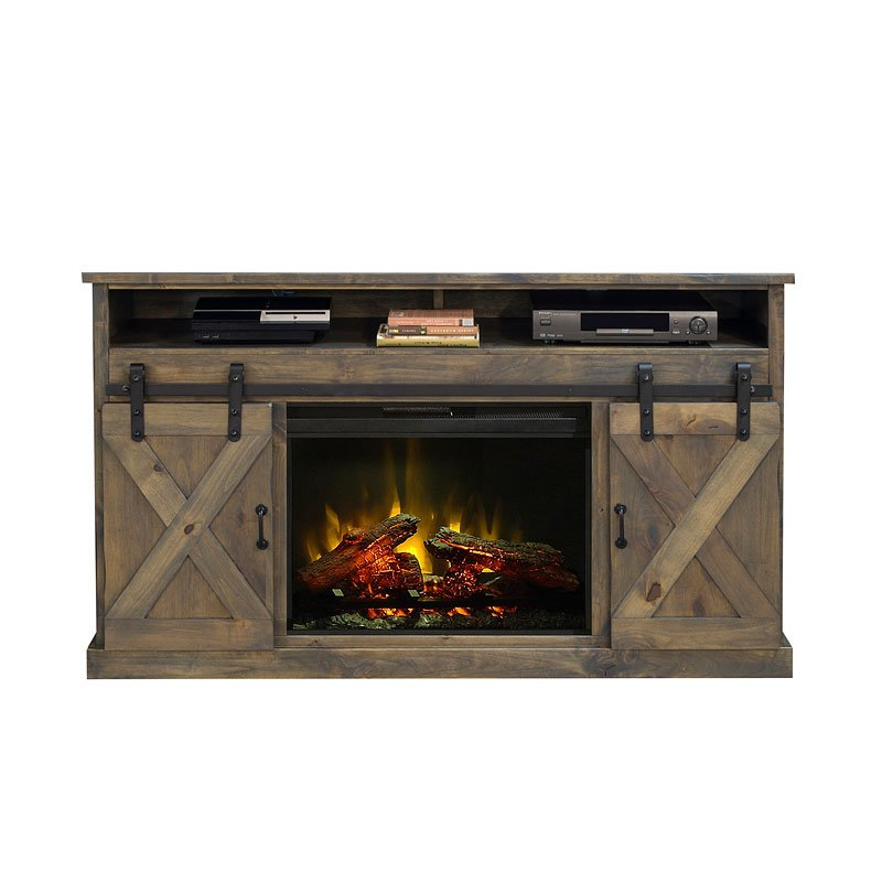 Farmhouse 66 Inch Fireplace Console Barnwood Tv Stands