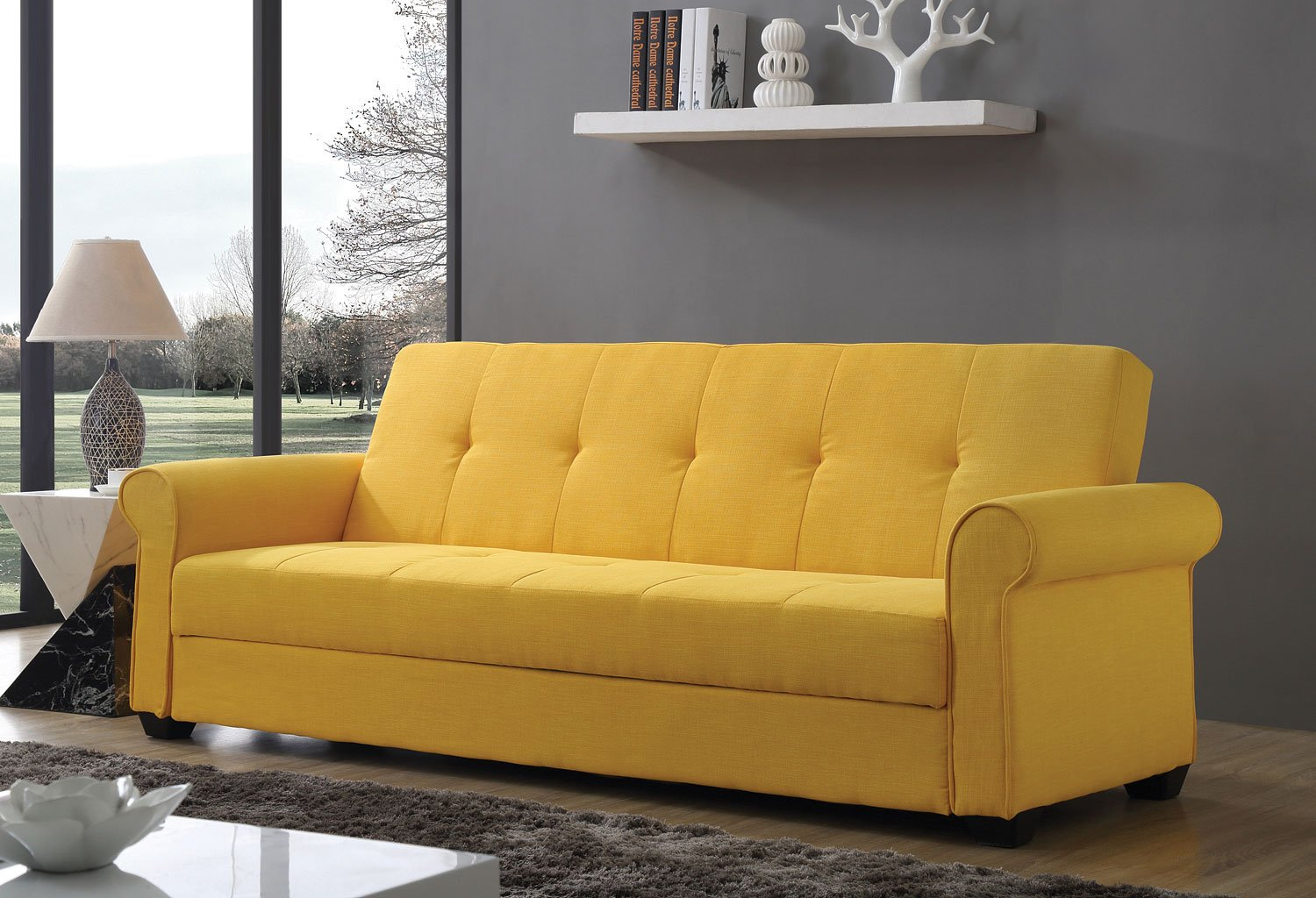 G155 Convertible Sofa Bed Yellow Futons Living Room