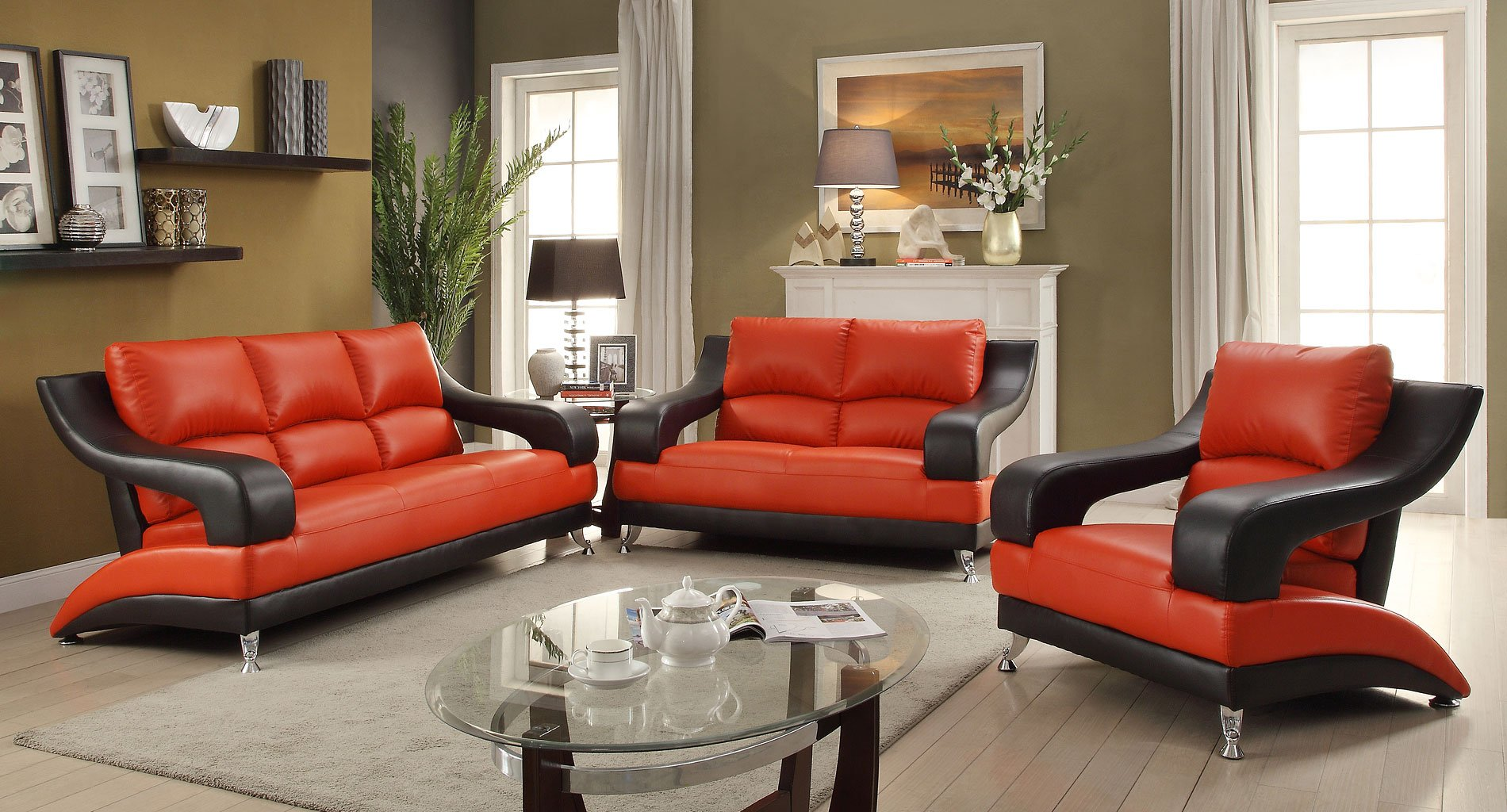 G249 modern living room set red and black living room for Black n red living room