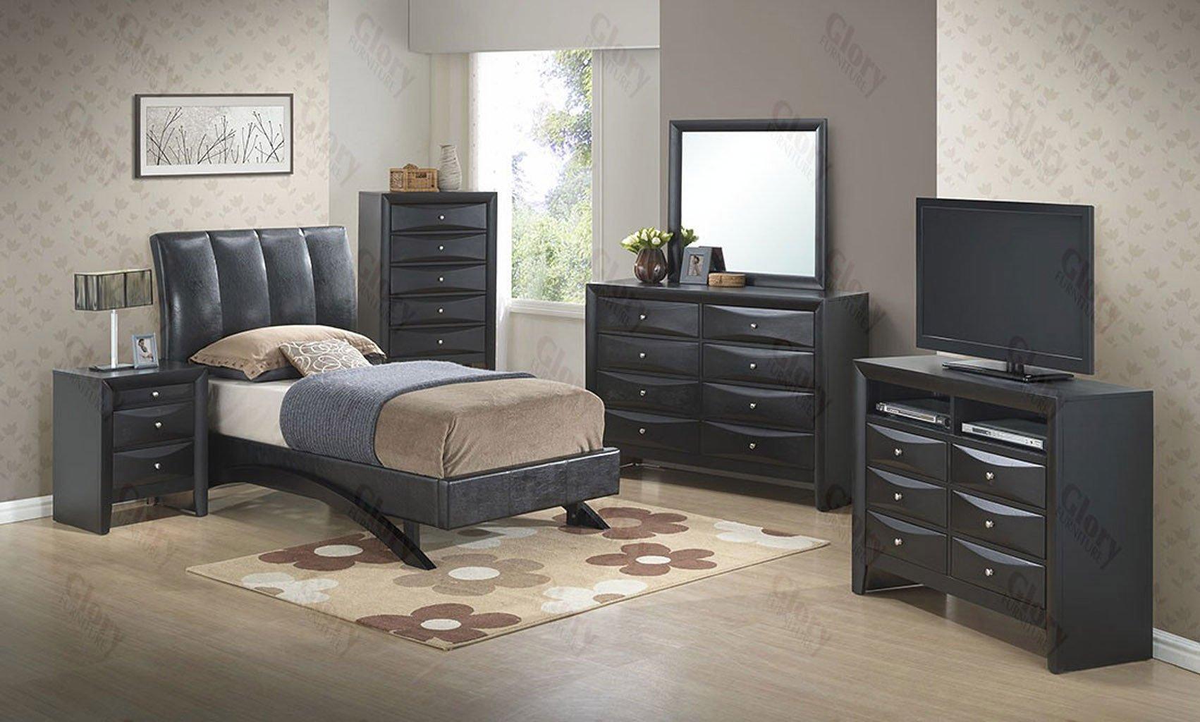 G2543 Youth Black Upholstered Bedroom Set Kids Room Sets
