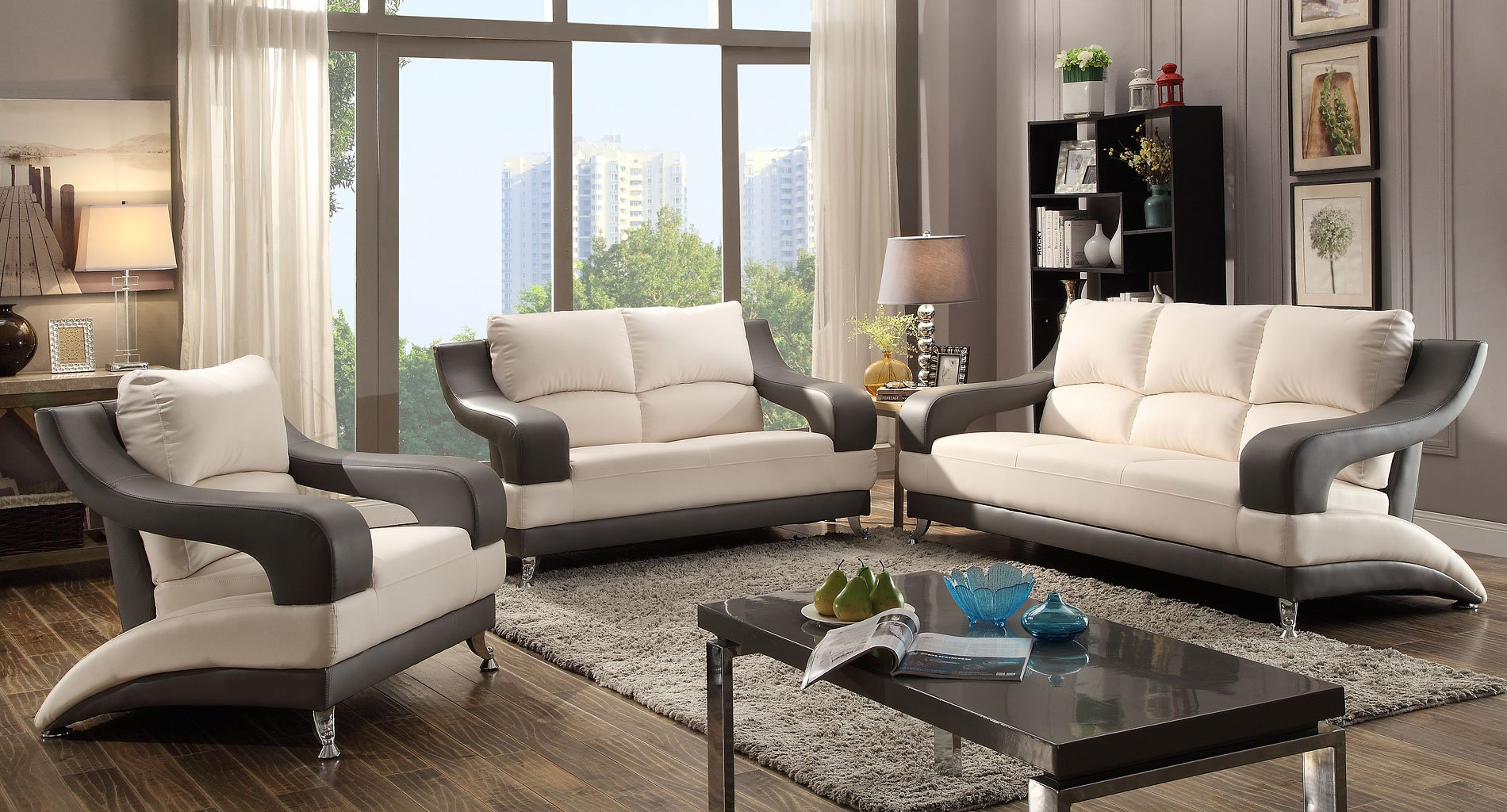 G259 Modern Living Room Set White And Gray By Glory