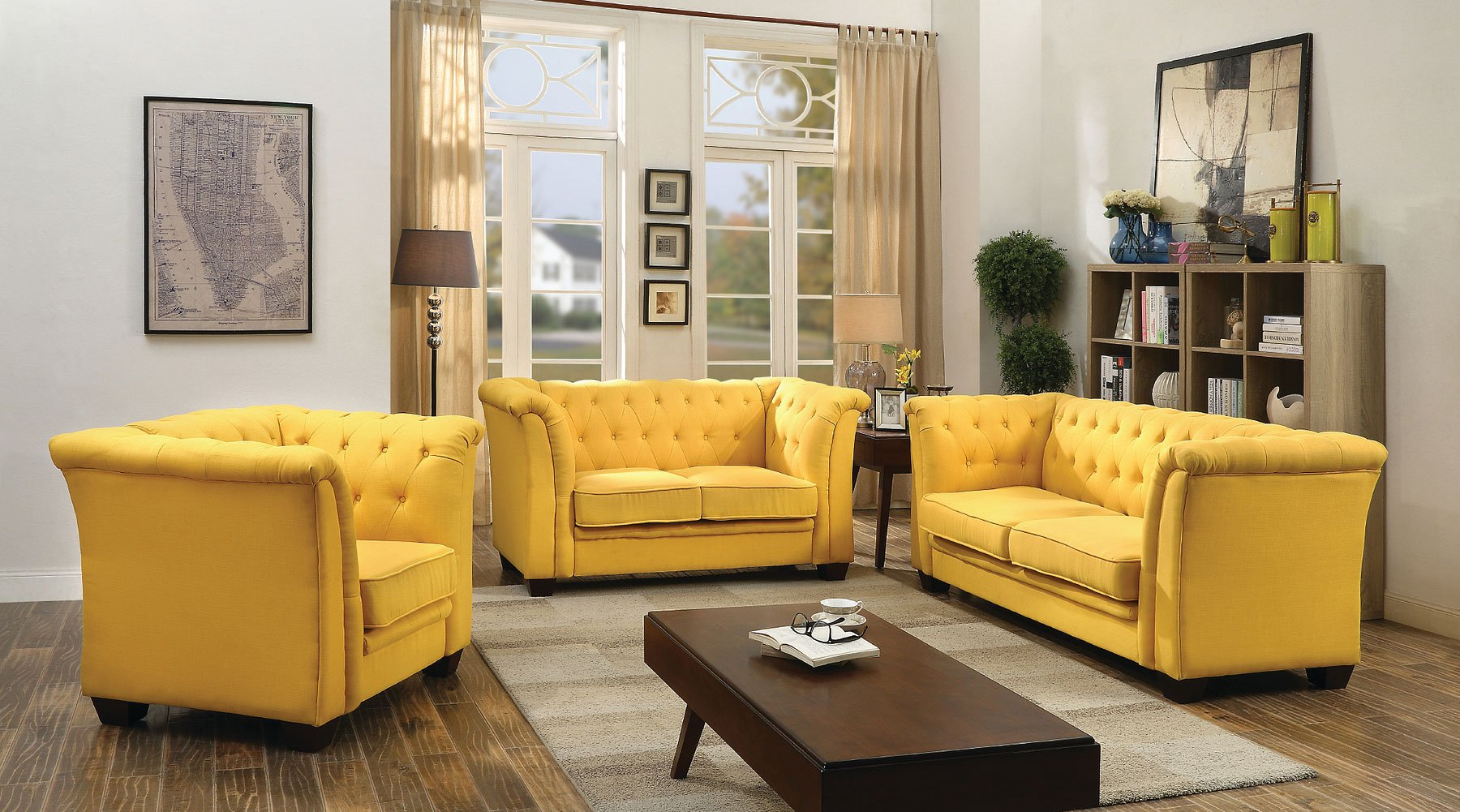 G322 Tufted Living Room Set (Yellow)