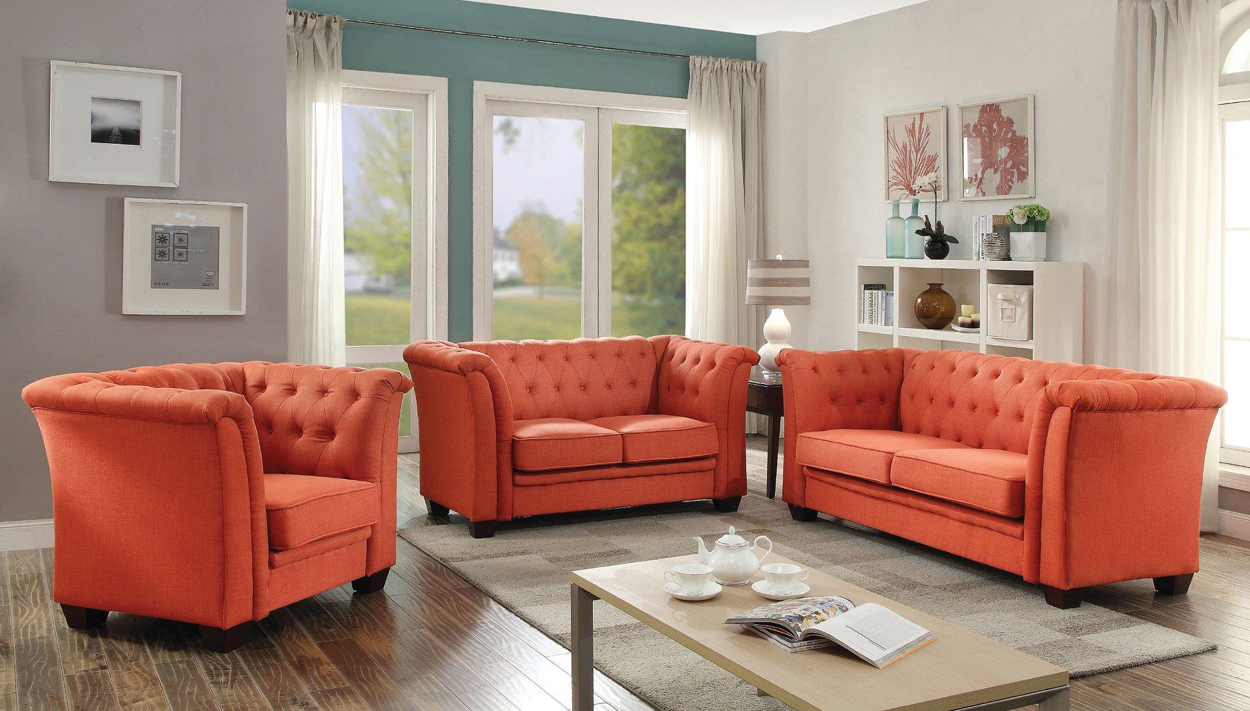 G324 tufted living room set orange