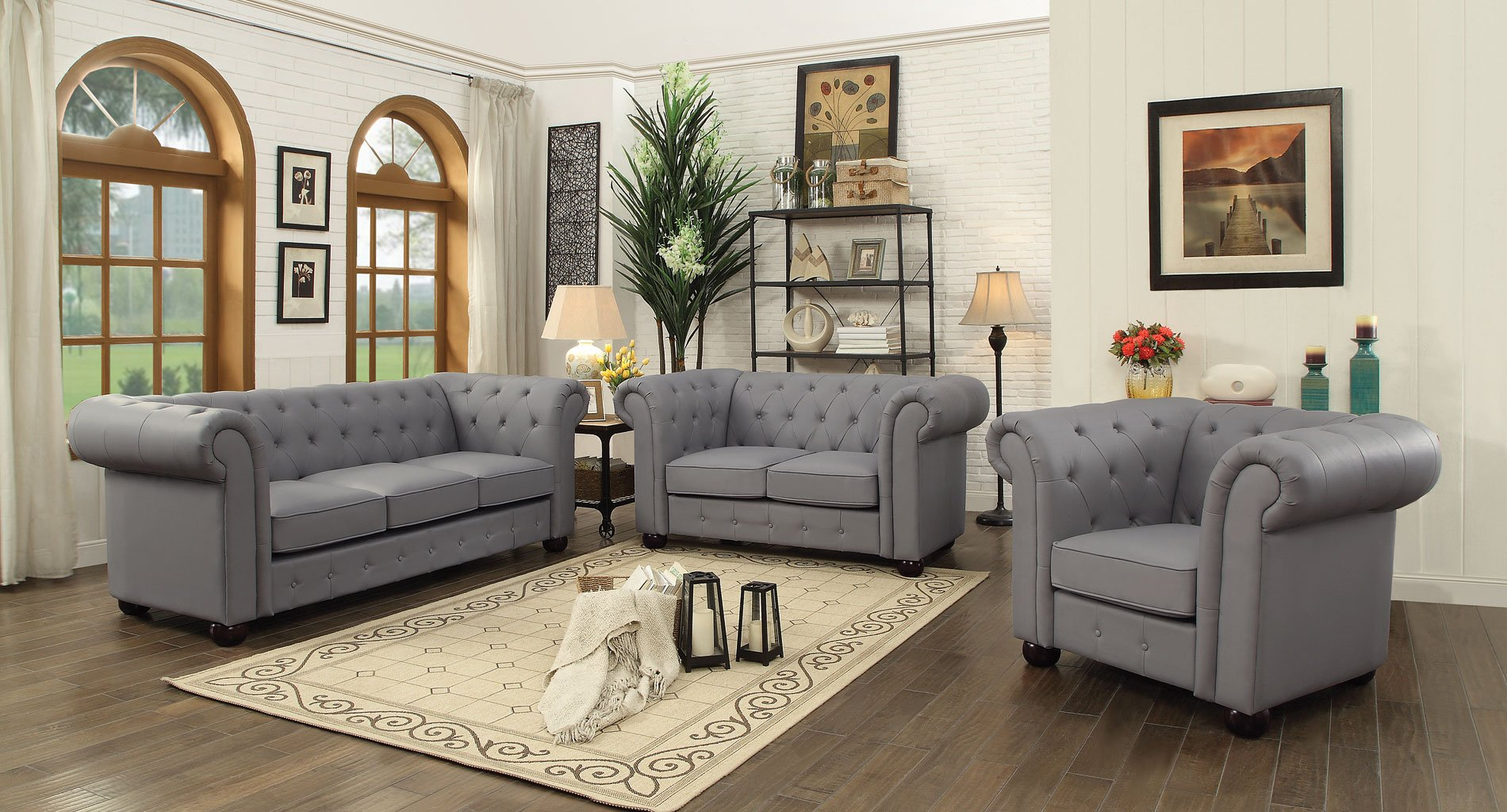 G491 Tufted Living Room Set (Gray) By Glory Furniture