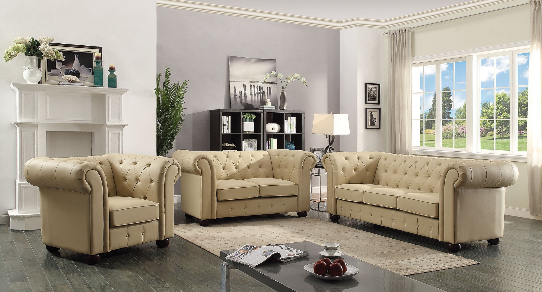 G492 Tufted Living Room Set (Beige)