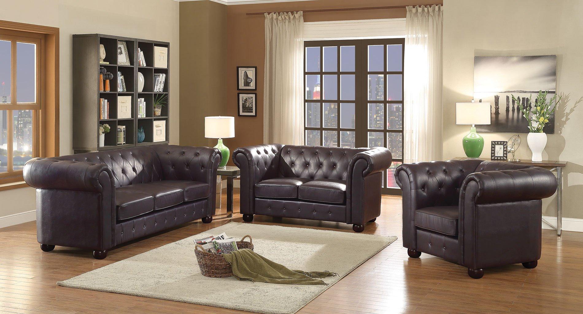 G494 Tufted Living Room Set Dark Brown Living Room Furniture Living