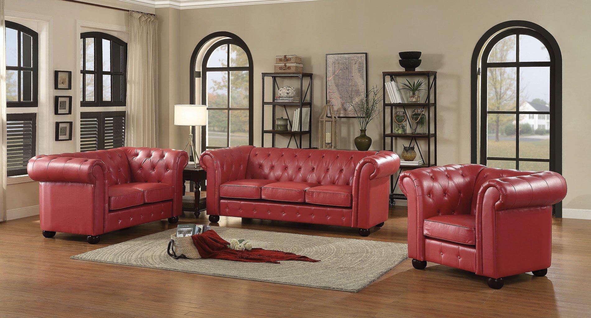G495 tufted living room set red