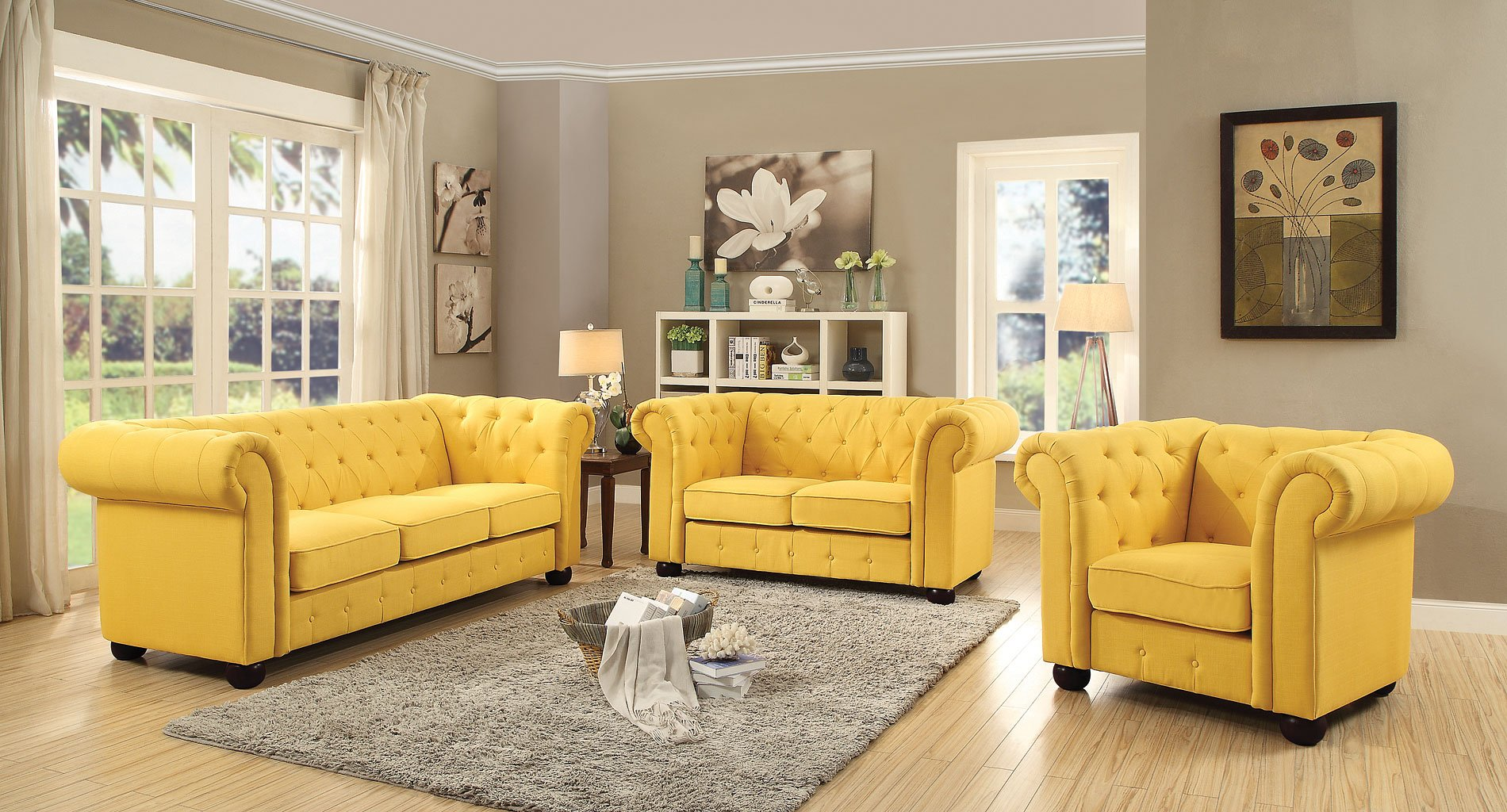 G497 Tufted Living Room Set (Yellow)