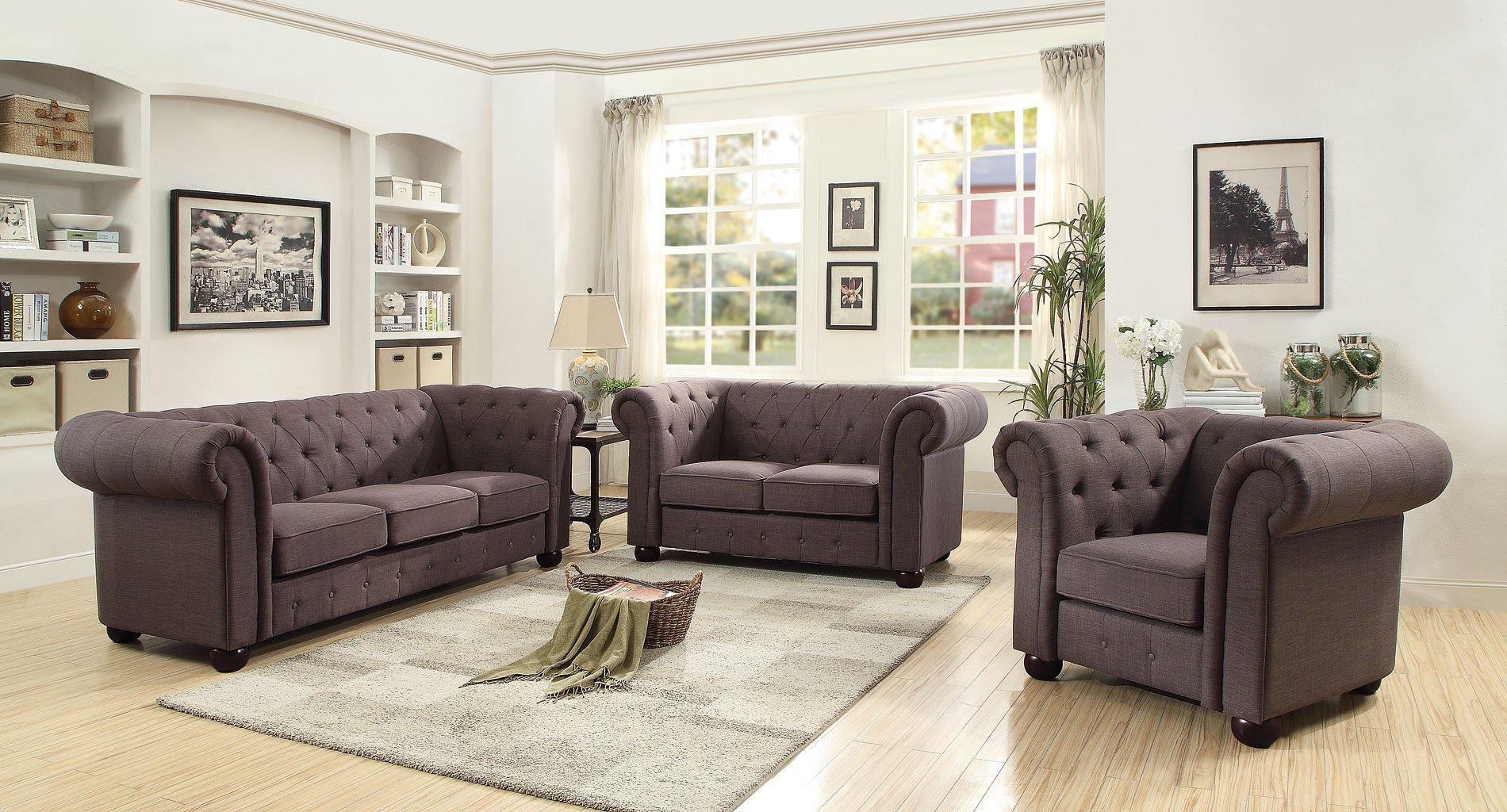 G499 tufted living room set ash gray