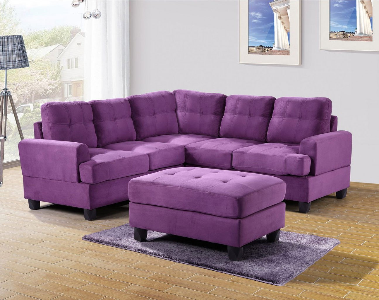 G517 corner sectional set purple living room sets for Purple couch set