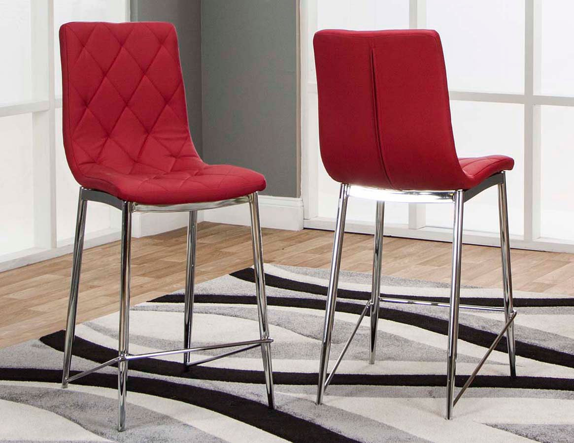Beau Turbo Red Counter Height Stool (Set Of 3)