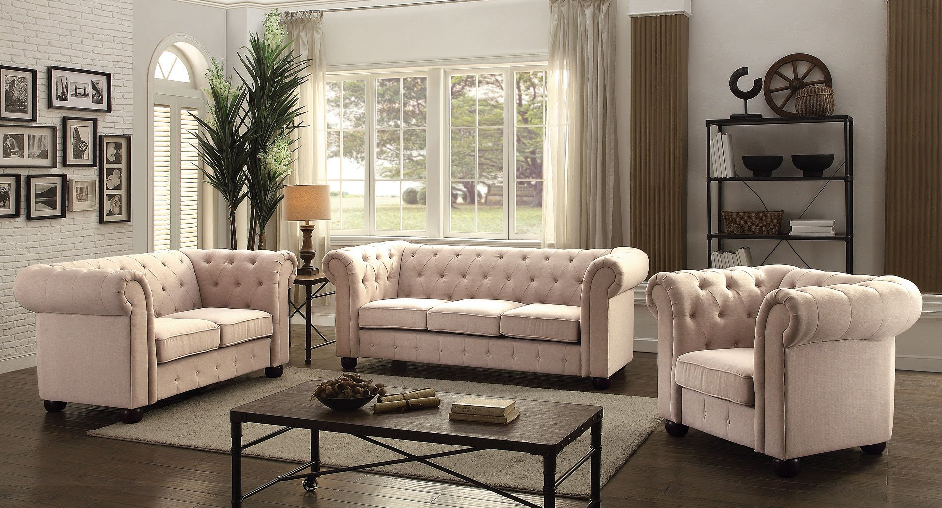 G578 tufted living room set tan