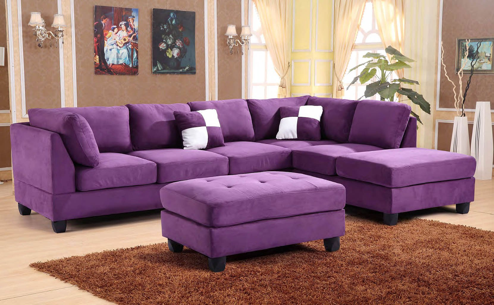 g637 reversible sectional set purple living room sets living room furniture living room. Black Bedroom Furniture Sets. Home Design Ideas