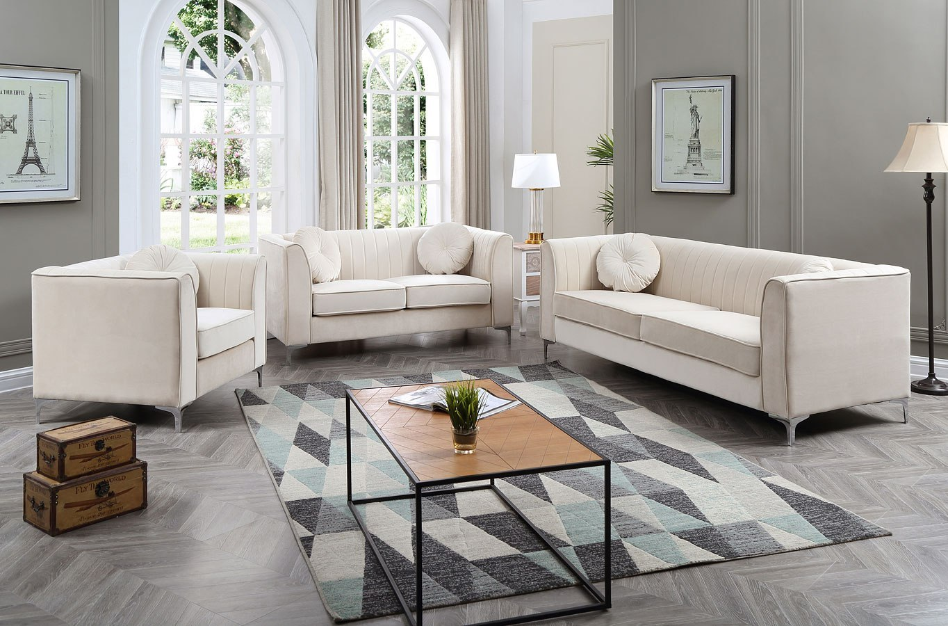 Delray Living Room Set Ivory By Glory Furniture Furniturepick