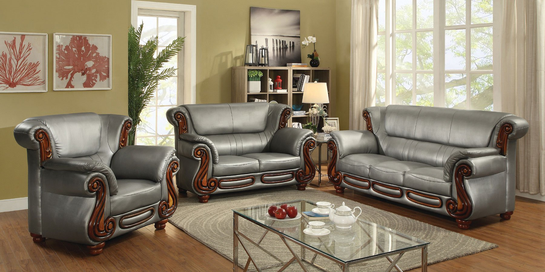 G826 living room set antique silver by glory furniture - Antique living room furniture sets ...