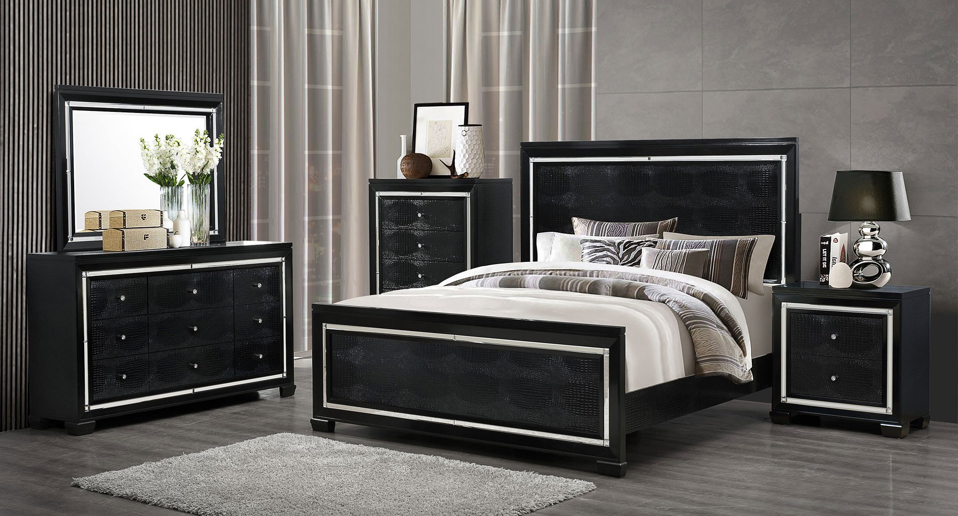 galaxy panel bedroom set by global furniture furniturepick 11631 | galaxy qb kb br set 1