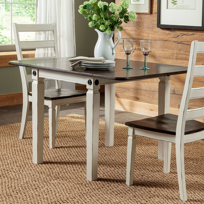 Glennwood Drop Leaf Dining Table Rubbed White Charcoal By