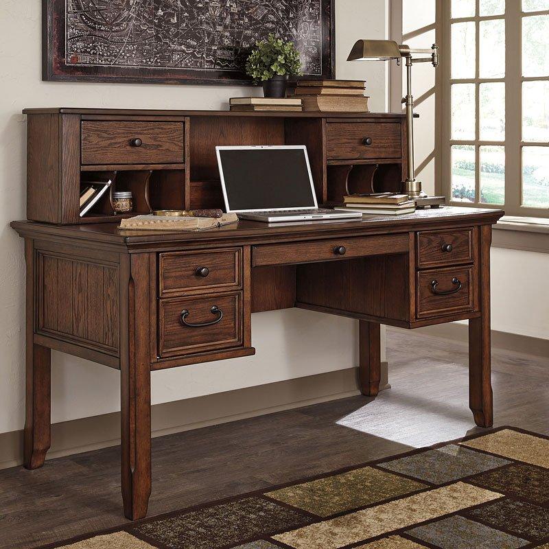 Woodboro Home Office Storage Desk W/ Hutch