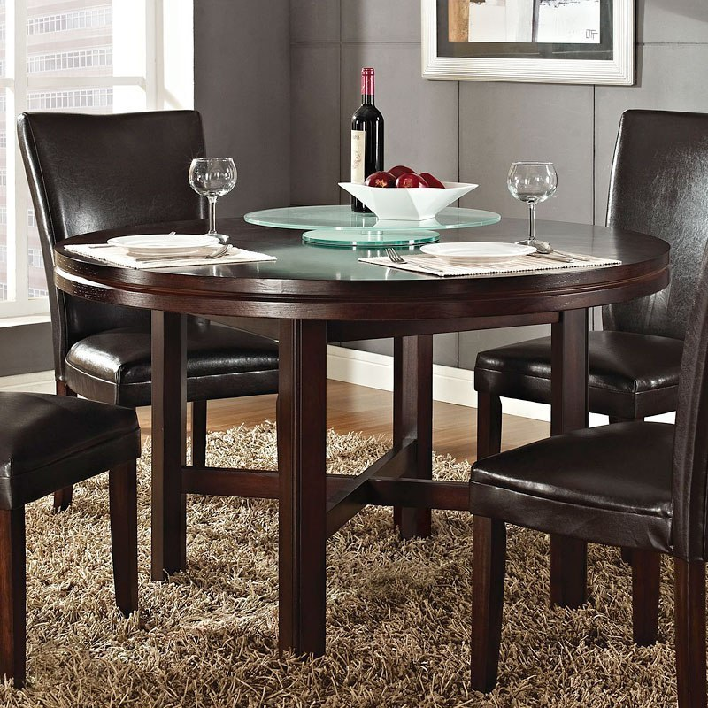 Hartford 52 Inch Round Dining Room Set W/ Red Chairs By