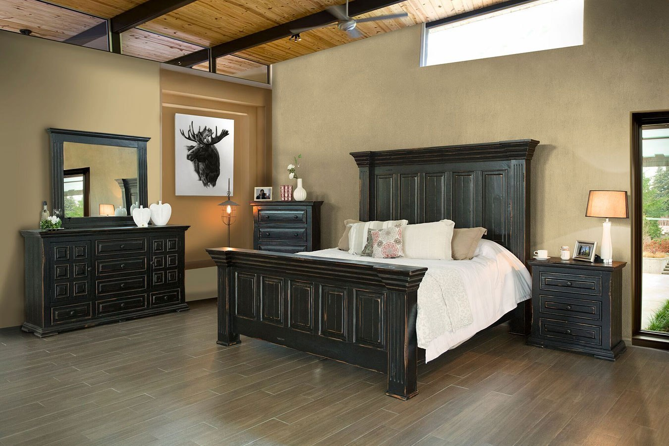 black bedroom furniture set | Terra Panel Bedroom Set (Black) by IFD Furniture ...