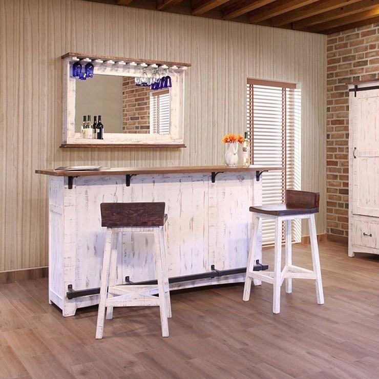 Pueblo Home Bar Set Brown White By Ifd Furniture Furniturepick