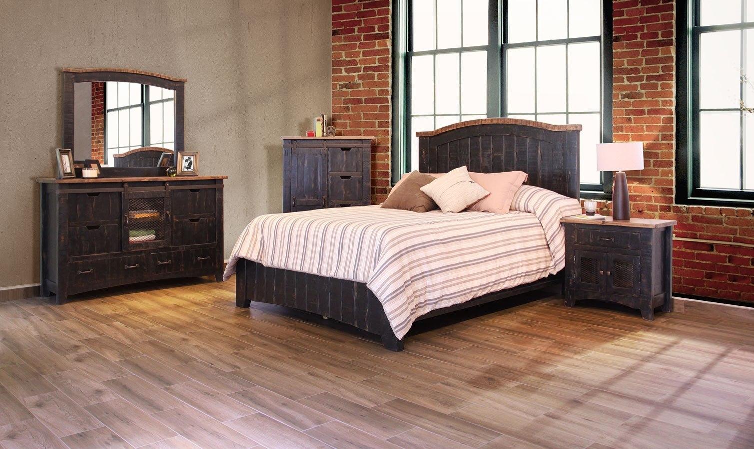 Pueblo Panel Bedroom Set (Black) by IFD Furniture | FurniturePick