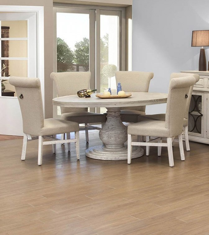 Bonanza Round Dining Room Set (Off White) by IFD Furniture ...