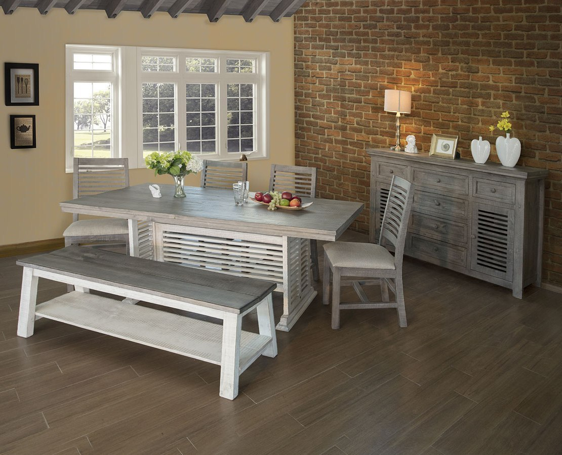 Stone Trestle Dining Room Set (Off White/ Gray) by IFD ...