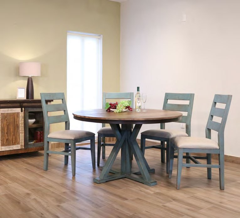 Teal Dining Room: Antique Round Dining Room Set W/ Teal Chairs By IFD