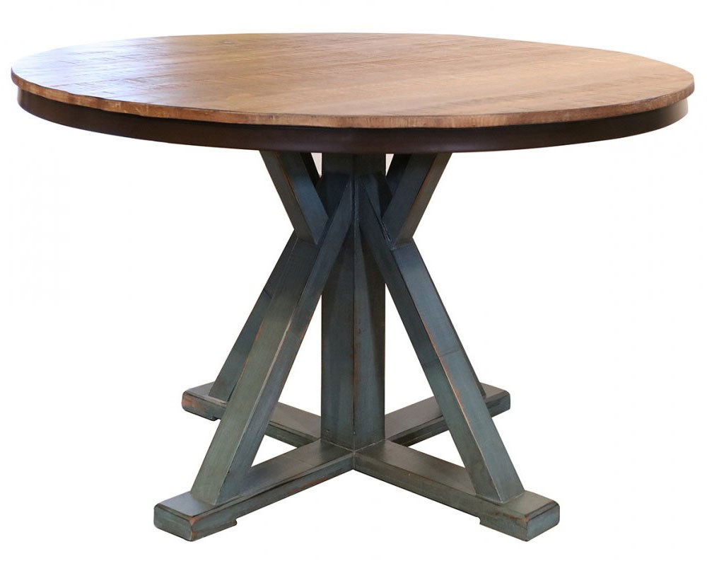 Antique Round Dining Table Chocolate Teal By Ifd Furniture Furniturepick