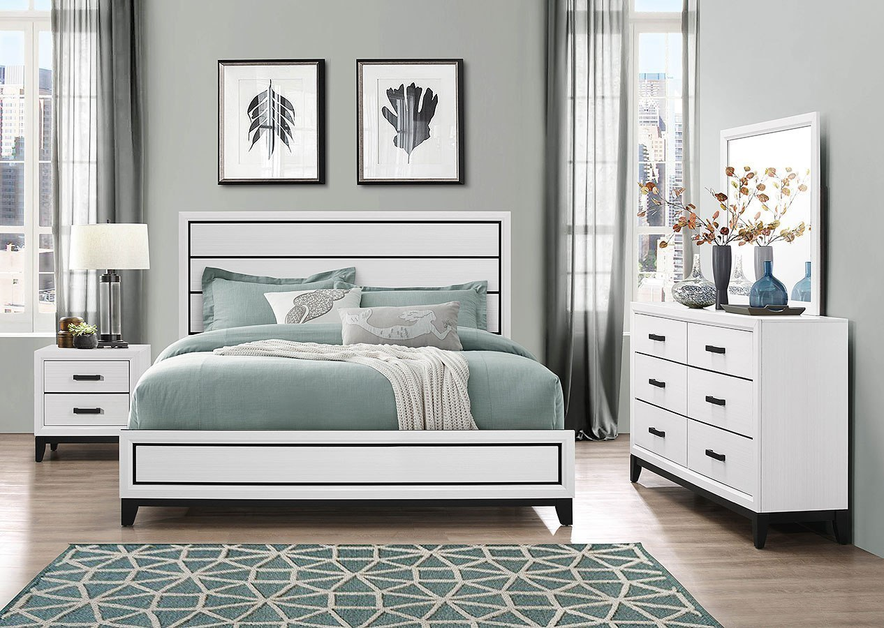 Kate Panel Bedroom Set (White)