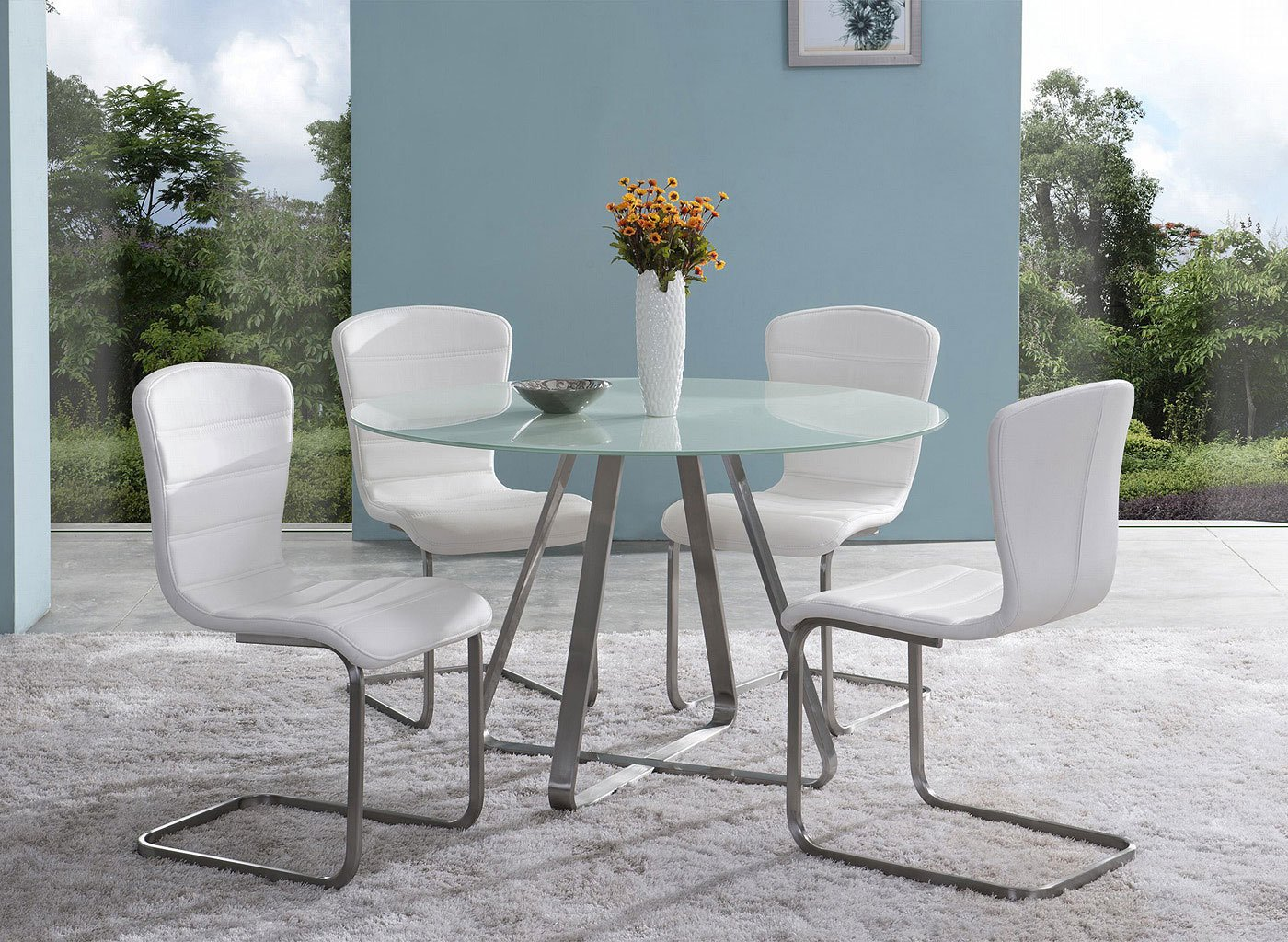 Cameo dining room set painted glass by armen living furniturepick