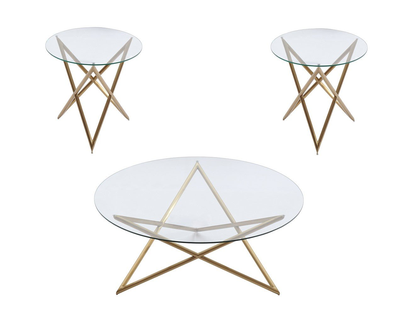 Crest Occasional Table Set Gold