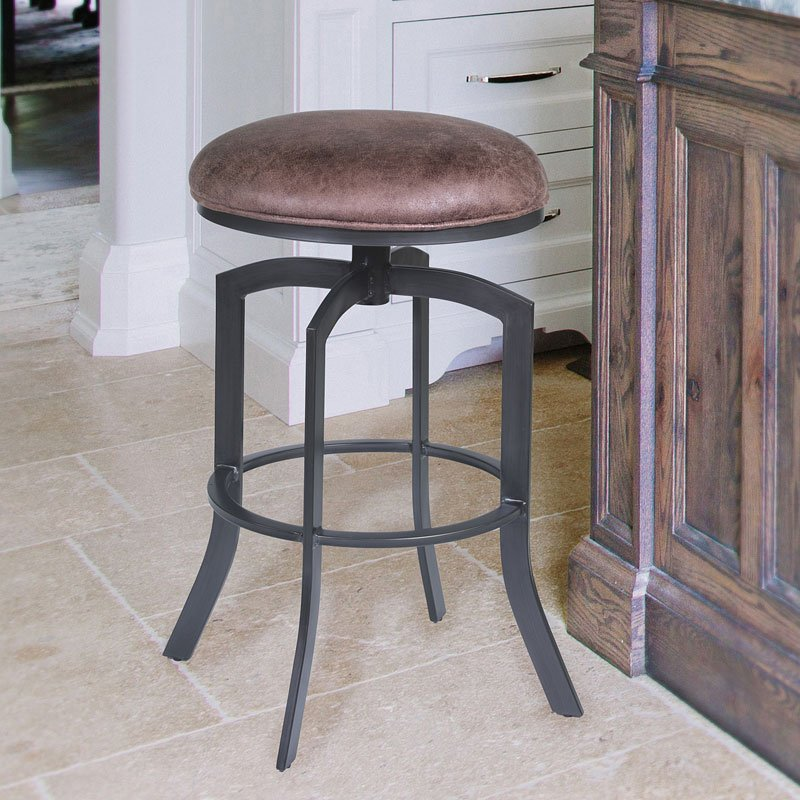 Studio 30 Inch Metal Swivel Barstool Mineral Tobacco Seat By