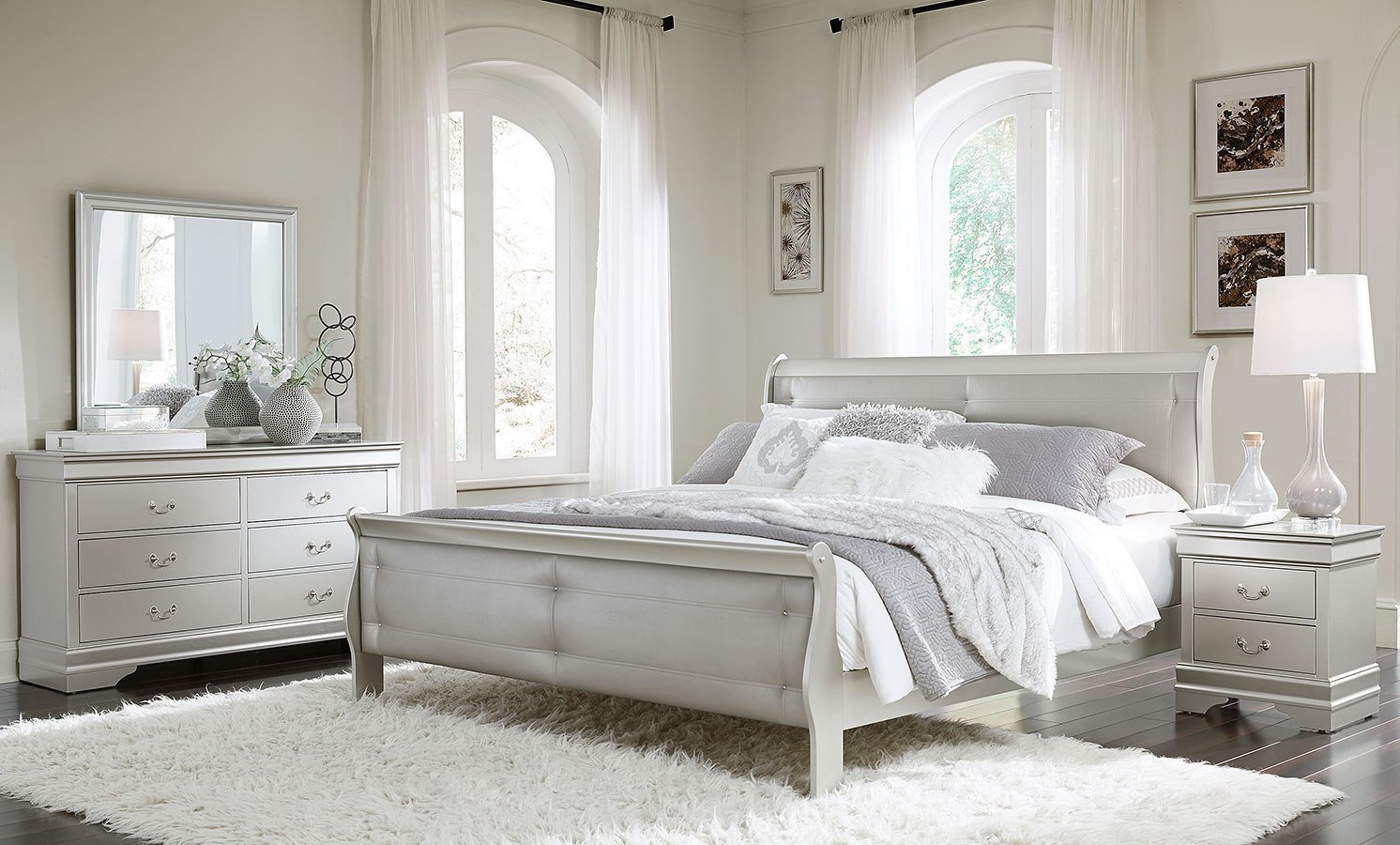 marley sleigh bedroom set (silver)global furniture