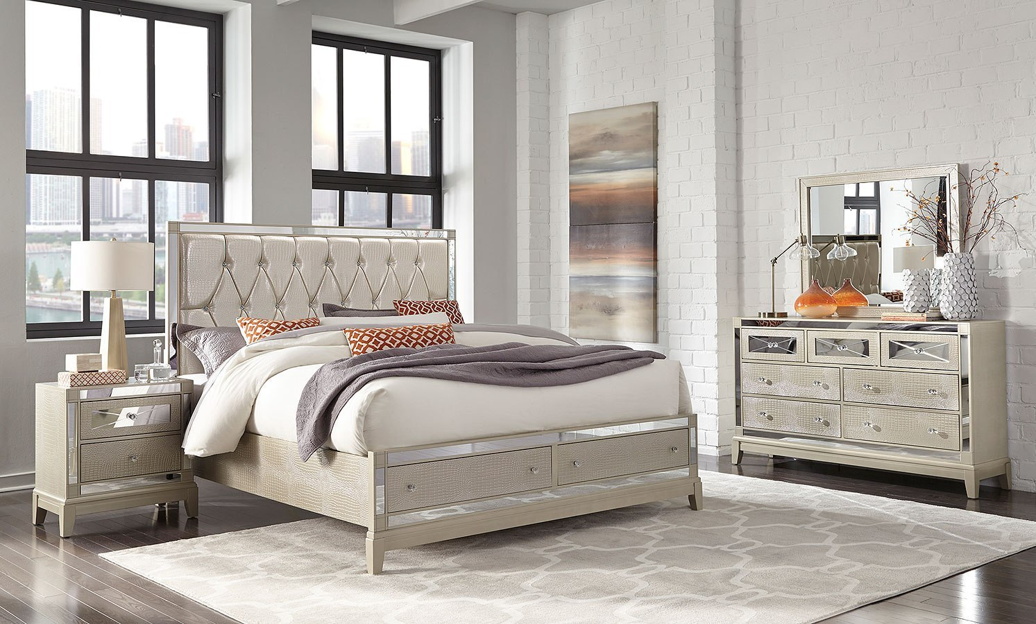 mirror storage bedroom set (champagne)global furniture