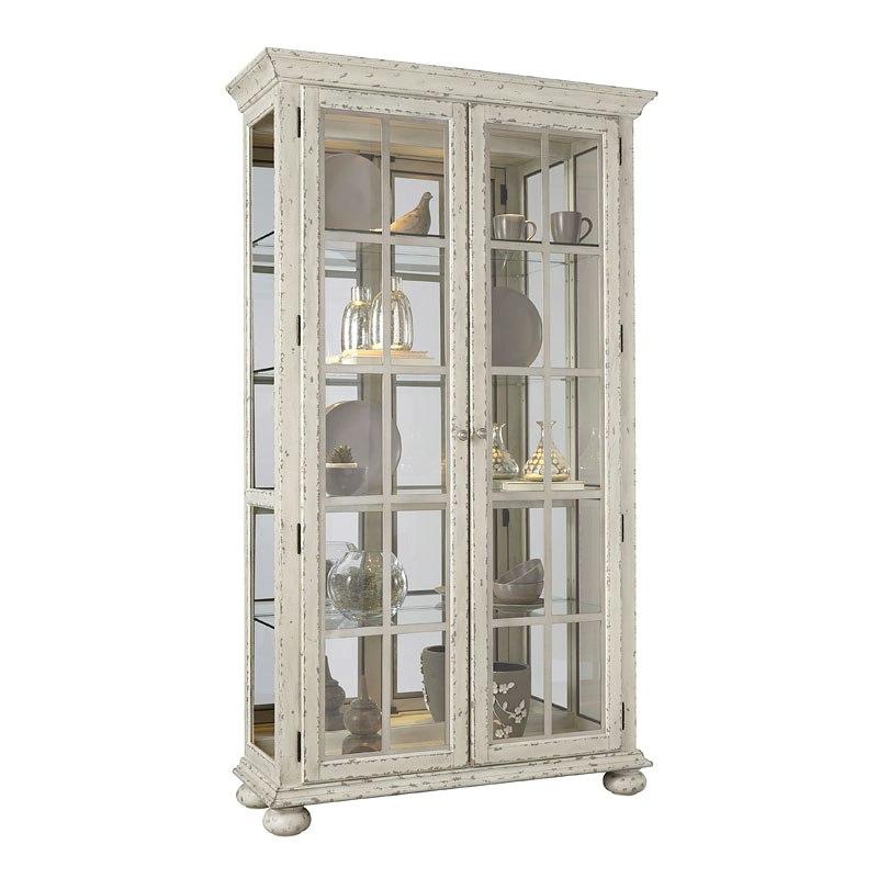 Distressed Antique White Curio - Distressed Antique White Curio - Accent Furniture And Home