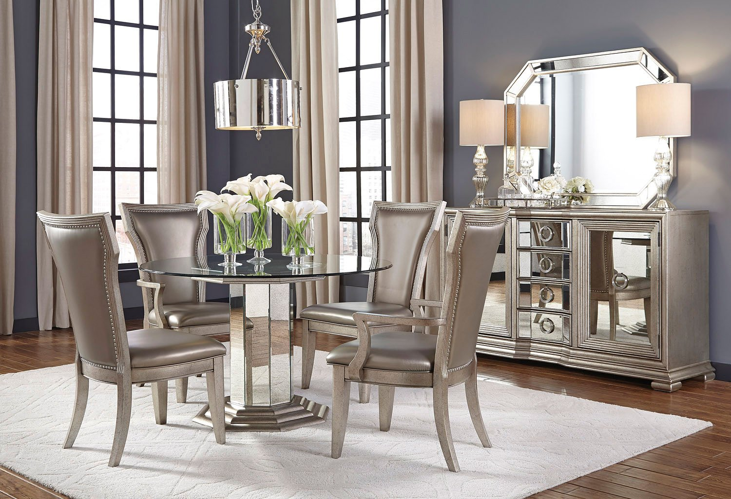 Couture round dining room set