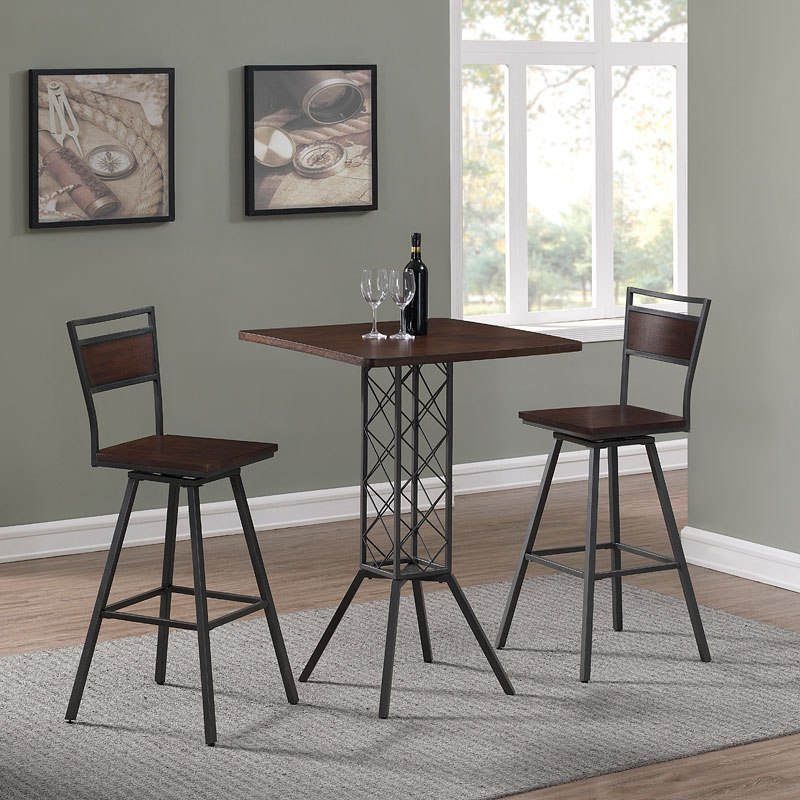 Peachy Square Wood Top Counter Dining Set W Cherry Counter Stools Uwap Interior Chair Design Uwaporg