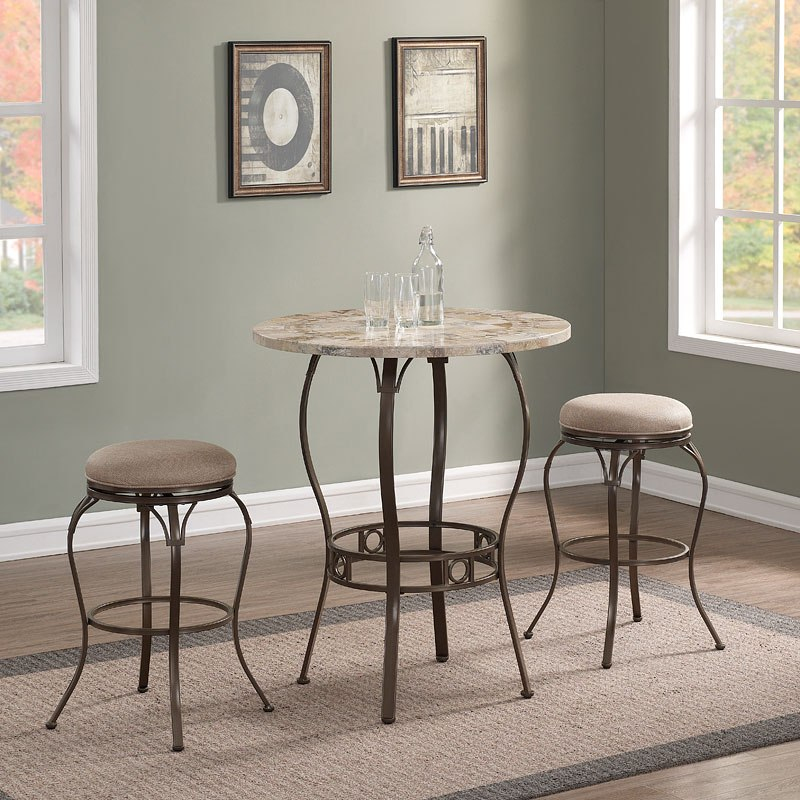 Marble Top Pub Table Set w/ Backless Bar Stools by ...